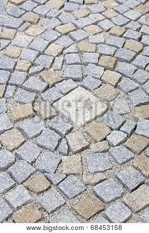Paving works with new granite stones