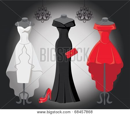 Set Of  Three Party Dresses