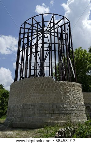 Restore ancient tower in Archaeological complex Abritus