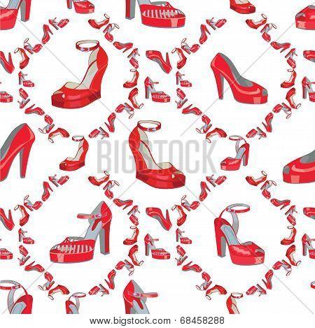 Fashion Seamless Pattern.womens High Heel Shoes