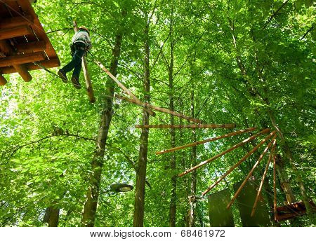 School boy climbing in adventure activity park