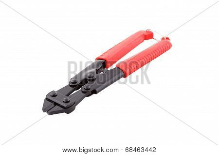 Bolt Cutters with red handles.
