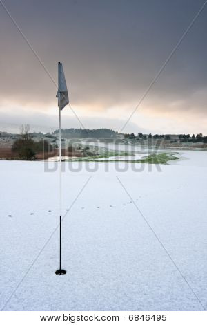 Golf Course On A Snowy Winter Morning