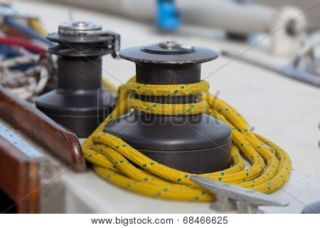 Sailboat Winch And Rope Yacht Detail.