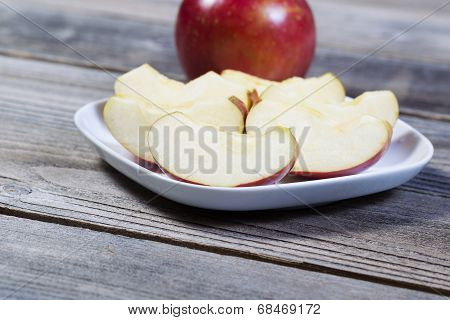 Fresh Apple Slices On Plate