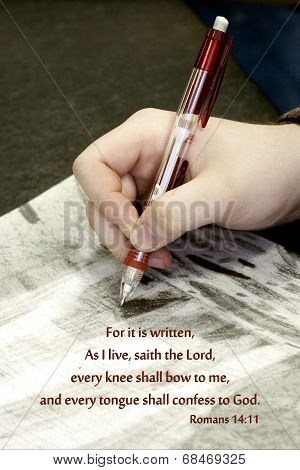 Teen hand holding pencil over Bible verse