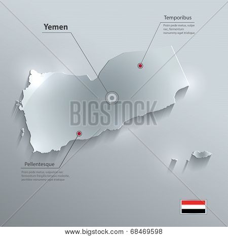 Yemen map flag glass water card paper 3D vector