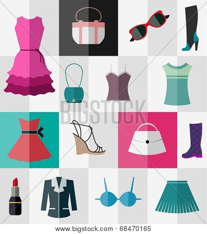 Various types of clothes and accessories for women