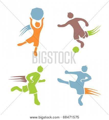 active sports boys icons vector set 2