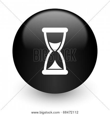 time black glossy internet icon