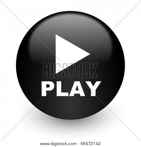 play black glossy internet icon