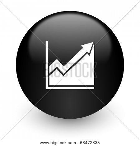 histogram black glossy internet icon