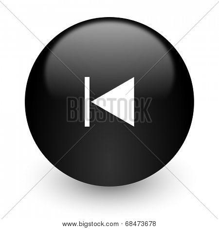 prev black glossy internet icon