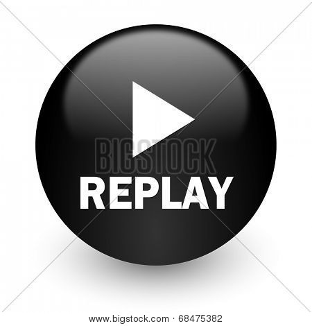 replay black glossy internet icon