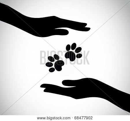 Hand Silhouette Protecting Paws Of Dog Or Cat Or Wild Animal