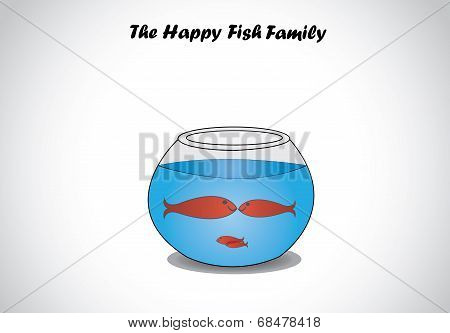 Red Happy Fish Family In A Transparent Fishbowl Glass Aquarium Bowl Concept Design Art