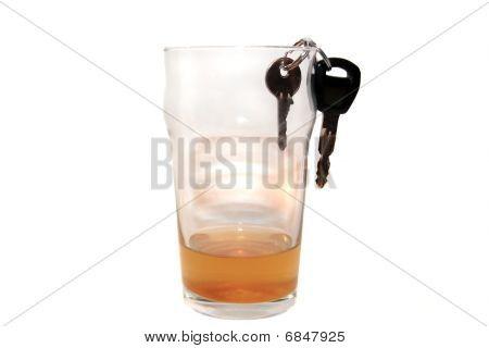 Car Keys In Pint Of Lager Glass