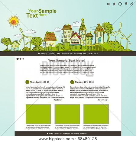 Eco website template illustration, vector