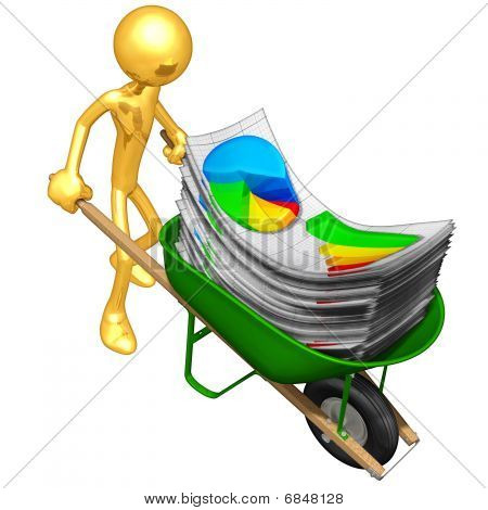 Gold Guy With Wheelbarrow Full Of Business Reports