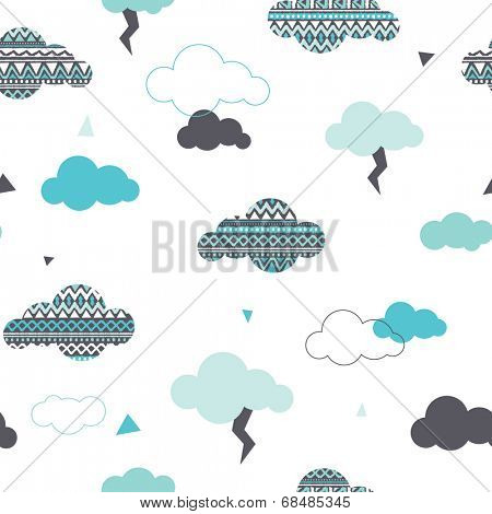 Seamless dreamy aztec clouds and geometric thunderbolt pastel illustration background pattern in vector