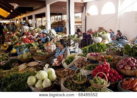 Sucre, Bolivia - January 18, 2012: Interior Perspective Of The Municipal Market Of Sucre, The Consti
