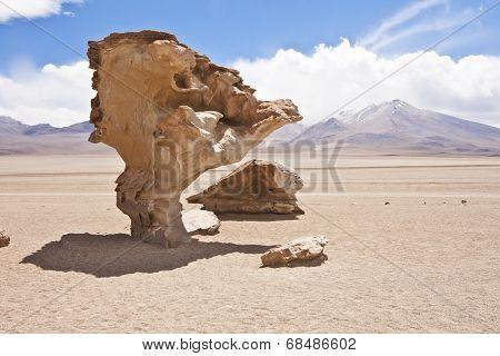 El Arbol De Piedra, A Stone Rock Formation By Erosion In The Bolivian Desert.