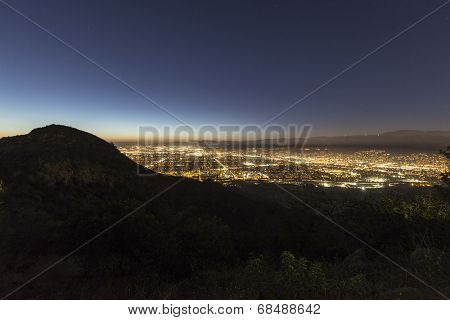 Night view of the San Fernando Valley in the City of Los Angeles.