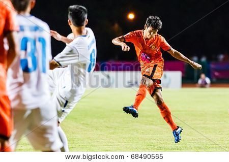 Sisaket Thailand-july 13: Alongkorn Pratoomwong Of Sisaket Fc. Shoot The Ball During Thai Premier Le