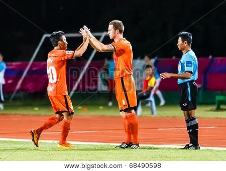 Sisaket Thailand-july 13: Brent Mcgrath Of Sisaket Fc. (no.8) In Action During Thai Premier League B