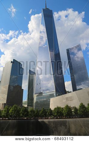 Freedom Tower, September 11 Museum and Reflection Pool with Waterfall in September 11 Memorial Park