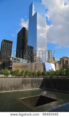 World Trade Center 4, September 11 Museum and Reflection Pool with Waterfall in September 11 Park