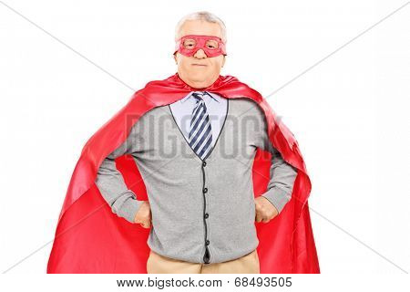 Elderly in superhero costume isolated on white background