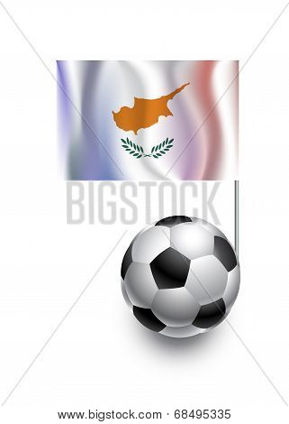 Illustration Of Soccer Balls Or Footballs With  Pennant Flag Of Cyprus  Country Team