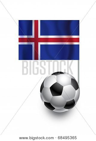 Illustration Of Soccer Balls Or Footballs With  Pennant Flag Of Iceland  Country Team