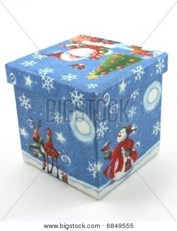 Christmas gift box, blue on white