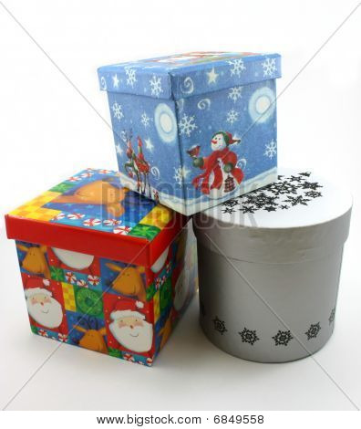Christmas gift boxes blue, red and white