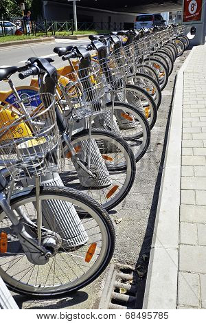 City Bike Docking Station In Brussels