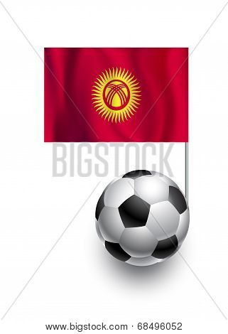 Illustration Of Soccer Balls Or Footballs With  Pennant Flag Of Kyrgyzstan  Country Team