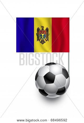 Illustration Of Soccer Balls Or Footballs With  Pennant Flag Of Moldova  Country Team