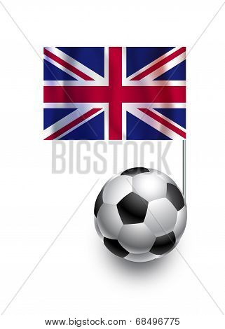 Illustration Of Soccer Balls Or Footballs With  Pennant Flag Of United Kingdom  Country Team
