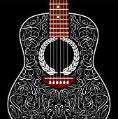 picture of guitarists  - grungy vector background with black acoustic guitar - JPG