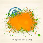 stock photo of ashoka  - Indian Independence Day celebration concept with Ashoka Wheel on national flag colors on beige background - JPG