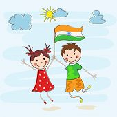 image of indian independence day  - Happy little kids holding Indian National Flag on nature background for 15th of August - JPG