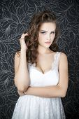 image of cleavage  - Beautiful woman in white wedding dress - JPG