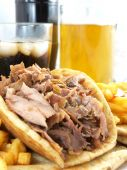 picture of gyro  - Greek Gyros or kebab with potatoes and pita - JPG