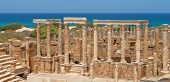 picture of libya  - The Theater at the spectacular ruins of Leptis Magna near Al Khums Libya - JPG