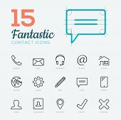 picture of fantastic  - Fantastic flat thin line vector contact  - JPG