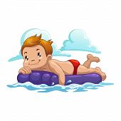 stock photo of mattress  - Cartoon boy swim on the air mattress - JPG