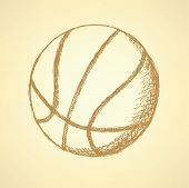 Sketch Basketball Ball, Vector Vintage Background poster