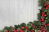 foto of ivy  - Christmas background border decoration with red baubles - JPG